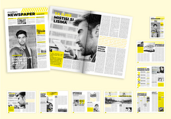 Minimal Newspaper Layout with Yellow Accents