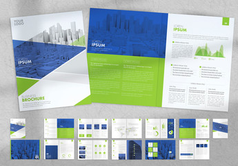 Brochure Layout with Green and Blue Accents