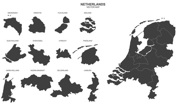 political map of Netherlands isolated on white background