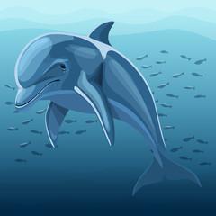 Vector Illustration Of Dolphin