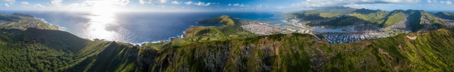 Wall Mural - Aerial panorama of the island of Oahu. Area near the Koko Head volcano. Hawaii