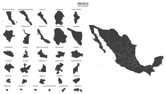 political map of Mexico isolated on white background