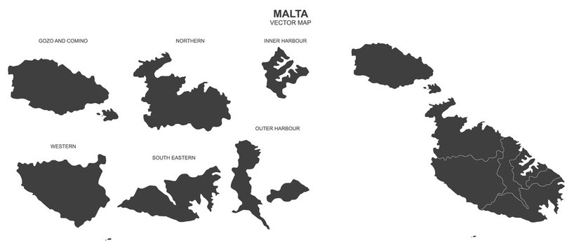 political map of Malta isolated on white background
