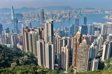 Panoramic view on Victoria Harbour, Bay and Skyline. Taken from Victoria Peak Park on Hongkong Island. Hong Kong, China
