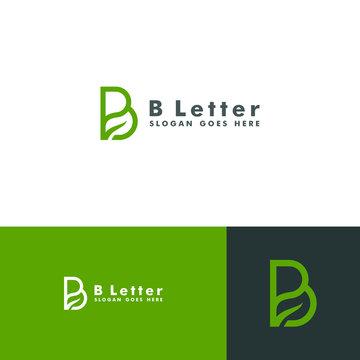 Letter B logo, leaf icon design vector