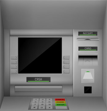Atm screen, automated teller machine black monitor with keypad for enter password and operation with money. Banking terminal for finance service and currency withdraw. Realistic 3d vector illustration
