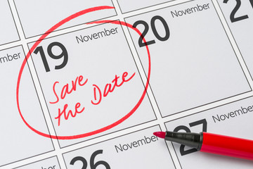 Save the Date written on a calendar - November 19