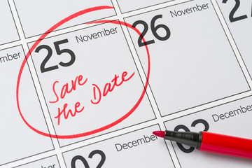 Save the Date written on a calendar - November 25