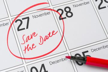 Save the Date written on a calendar - November 27