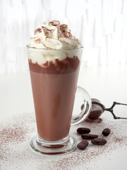 Fotorolgordijn Chocolade Homemade hot chocolate latte