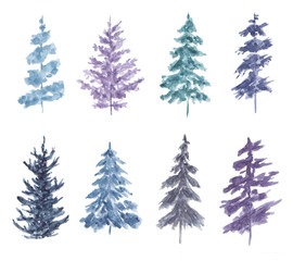 Watercolor set of spruces isolated on white background.