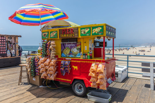 Pier tamales canteen on Santa Monica pier, sunny spring day. Los Angeles California USA.