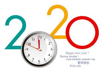Carte de vœux 2020 avec un cadran de montre, lançant le compte à rebours pour le passage à la nouvelle année.