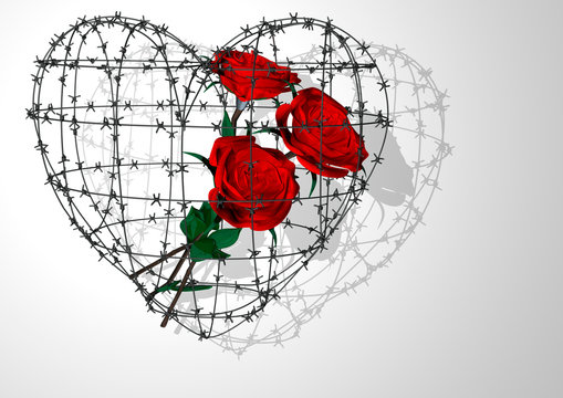 3D rendering. A bouquet of roses in the inside of a barbed wire heart symbolism. Valentine's day holiday. White background.