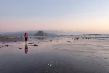 Abendstimmung in Morro Bay mit Morro Rock