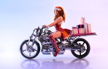 Sexy girl, beautiful biker in red dress and Santa hat, helper of Santa Claus, carrying christmas gifts boxes on a motorcycle on the eve of Christmas. Funny christmas, new year greeting card 3D concept