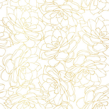 Seamless pattern with golden outlined succulent flowers on white background