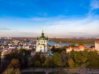 Foto op Aluminium Luchtfoto Aerial top view of Saint Andrew's church and Andreevska street from above, cityscape of Podol district, city of Kiev (Kyiv), Ukraine