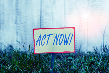 Writing note showing Act Now. Business concept for do not hesitate and start working or doing stuff right away Plain paper attached to stick and placed in the grassy land