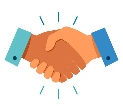 Business handshake icon. Handshake of business partners. Business handshake. Successful deal. Vector flat style icon isolated on white background