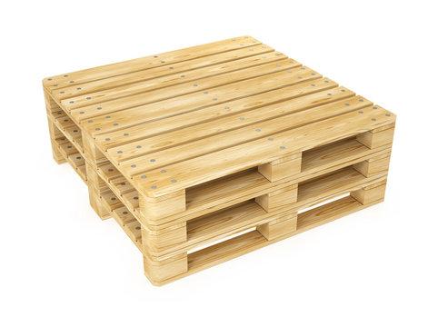 Euro pallet wooden pallet for transporting goods. 3d illustration