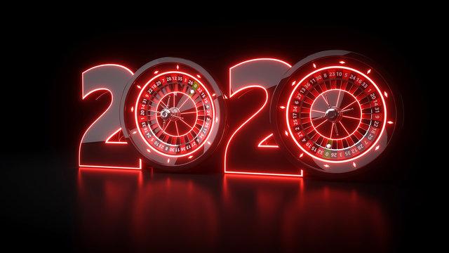 Casino 2020 Year - 3D Illustration