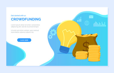 Crowdfunding new ideas and profit vector, money in bag, cogwheel sign, cash and light bulb. Infocharts and message, financial assets business. Website or webpage template, landing page flat style