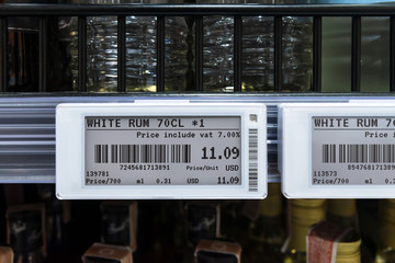 Smart retail digital store technology concept.Electronic Shelf Label(ESL) led for automatically updated displaying product pricing on shelves for retail business. Price is change from control service.