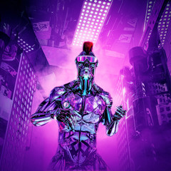 The artificial boy returns / 3D illustration of futuristic metallic science fiction male humanoid cyborg with mohawk hairstyle and sunglasses