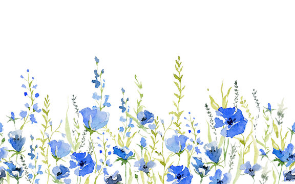 Seamless border with rustic gentle blue flowers. Botanical background design for textile, wallpaper, print. Isolated on white background. Watercolor illustration