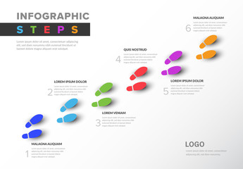Colorful Infographic with Footstep Illustrations