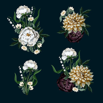 Bouquets with dahlia and peony in vintage style. Vector.
