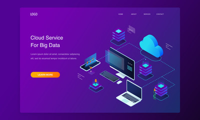 Website 3d Isometric Landing page of People interacting with cloud computing services analyzing statistics. Data visualization concept illustration