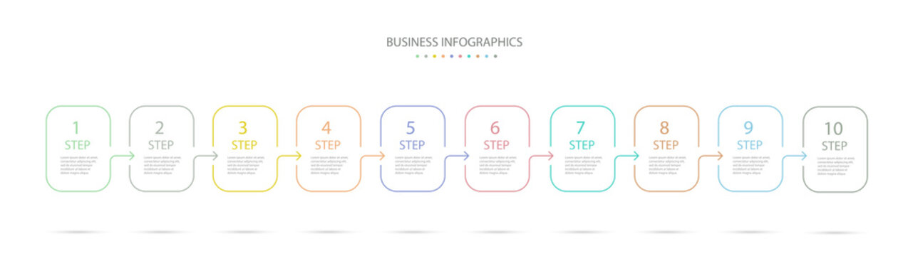 Thin line infographics design template with 10 options, steps or processes. Infographics for business concept, presentation, workflow layout, process diagram, info graph. Vector eps 10