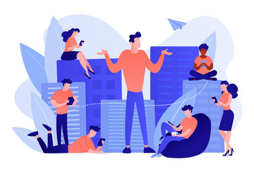 Wall Mural - People in the city overusing mobile devices and a man feeling alone. Smartphone addiction, digital disorder, mobile device addiction concept. Pinkish coral bluevector isolated illustration