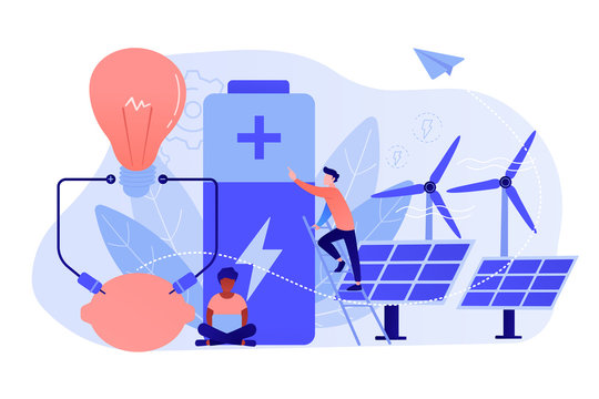 Scientists with lemon charging, solar pannels, wind turbines. Innovative battery technology, new battery creation, battery science project concept. Pinkish coral bluevector isolated illustration