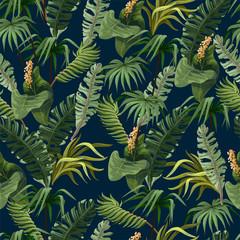 Naklejka premium Wzór z dżungli drzew i kwiatów. Wektor.