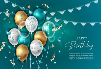 Happy birthday vector illustration. Balloons.