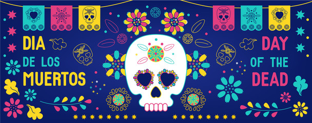 Day of the dead, Dia de los muertos background, banner, greeting card  with mexican bunting, sugar skull or calavera, flowers and text. Vector illustration, cover for facebook, web site
