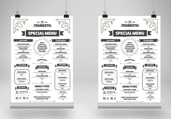 Food Menu Poster Layout with Illustrative Elements