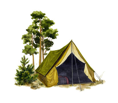 Picture of a camp in a forest hand drawn in watercolor isolated on a white background. Watercolor illustration