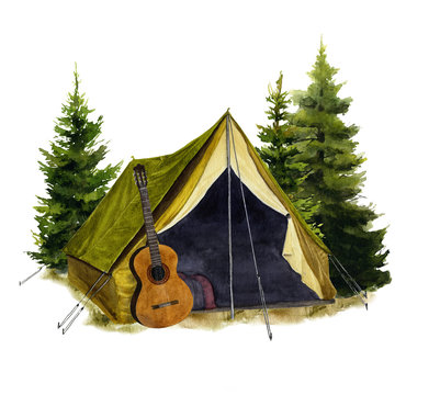 Picture of a tent with a guitar hand drawn in watercolor isolated on a white background. Watercolor illustration