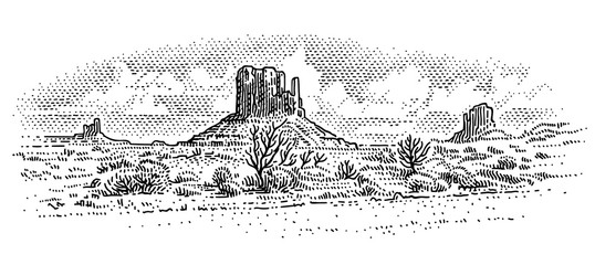American desert landscape engraving style drawing. Desert sketch. Monument Valley. Arizona. Vector. Sky in separate layer.