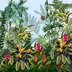 Naklejka premium Granica dżungli drzewami i kwiatami