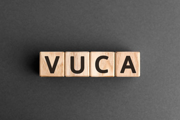 VUCA - acronym from wooden blocks with letters, volatility, uncertainty, complexity and ambiguity VUCA concept,  top view on grey background