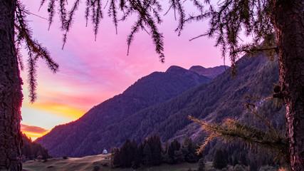 Fototapeten Flieder alps mountains clouds autumn