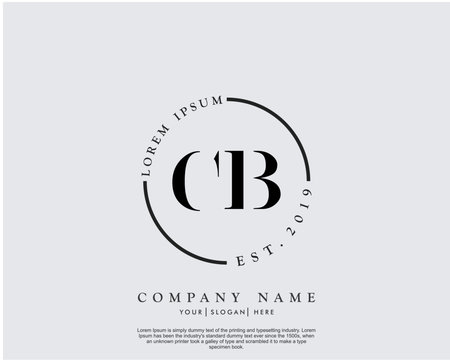Initial letter CB beauty handwriting logo vector