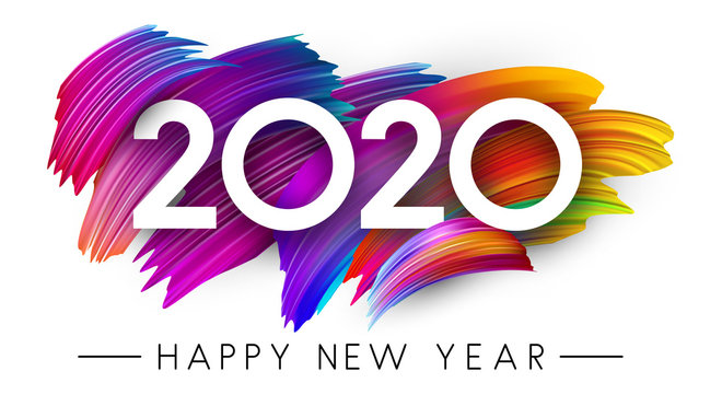 Happy New Year 2020 card with colorful brush stroke design.