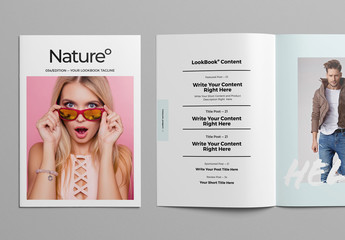 Magazine Layout with Pastel Colors and Brush-Style Text Elements
