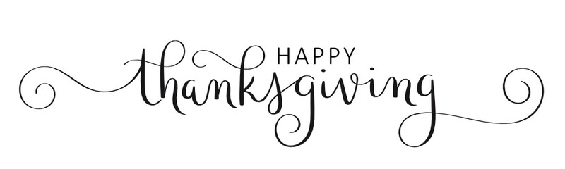 Wall Mural - HAPPY THANKSGIVING vector brush calligraphy banner with flourishes